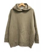 ()の古着「High neck knit hoodie」|ベージュ