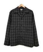 STEVEN ALAN(スティーブンアラン)の古着「VNTG/CHECK BOX CAMP COLLAR SHI」|グレー