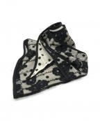 GRACE CONTINENTAL(グレースコンチネンタル)の古着「レイヤード刺繍ストール」 ホワイト×ブラック