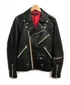 JACKROSE(ジャックローズ)の古着「レザーダブルライダースジャケット」 ブラック