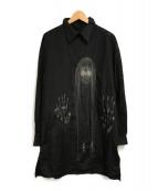 ()の古着「変形襟刺繍ロングシャツ」|ブラック