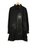 YohjiYamamoto pour homme(ヨウジヤマモトプールオム)の古着「変形襟刺繍ロングシャツ」|ブラック