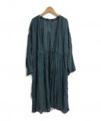 nest Robe(ネストローブ)の古着「リネンカシュクールワンピース」|グリーン