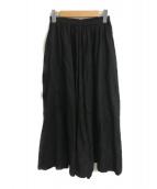 ()の古着「リネンギャザースカート」 ブラック