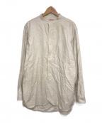 BONCOURA(ボンクラ)の古着「バンドカラーフランネルシャツ」|アイボリー