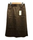 ()の古着「レザーライクサテンAラインスカート」
