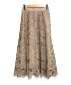 JUSGLITTY(ジャスグリッティー)の古着「カットワークロングフレアスカート」|ベージュ