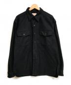 BONCOURA(ボンクラ)の古着「モールスキンCPOシャツ」|ブラック