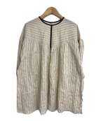 Liyoca(リヨカ)の古着「シャーリングストライプブラウス」|ベージュ
