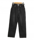 MACPHEE(マカフィー)の古着「コットンブラックデニムセミワイドパンツ」|ブラック