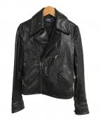 POLO RALPH LAUREN(ポロ・ラルフローレン)の古着「カウレザーダブルライダースジャケット」|ブラック