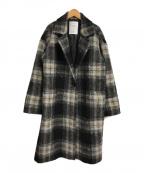 CAST:(キャスト)の古着「チェックシャギーコート」 ブラック×ホワイト