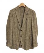LARDINI(ラルディーニ)の古着「EASY シルクリネンライトツィードグレンチェック3B」 ベージュ