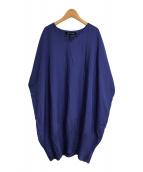 ()の古着「裾プリーツワイドワンピース」|ブルー