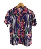 ()の古着「アロハシャツ」|ブルー×ピンク