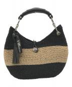 ()の古着「フリンジ付ラフィアワンショルダーバッグ」|ブラック×ベージュ