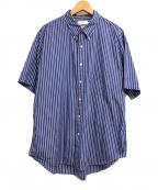Graphpaper(グラフペーパー)の古着「Thomas Mason S/S B.D Shirt」|ブルー×ホワイト