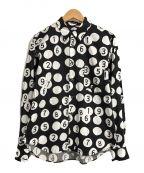 BLACK COMME des GARCONS()の古着「ドットナンバープリントシャツ」|ブラック×ホワイト