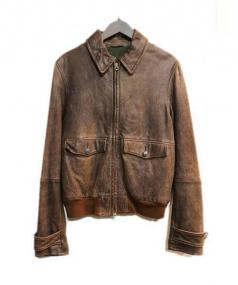 MAURO GRIFONI(マウログリフォーニ)の古着「カウレザーブルゾン」|ブラウン