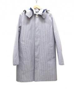 MACKINTOSH (マッキントッシュ) シアサッカー2WAYステンカラーコート ブルー×ホワイト サイズ:SIZE 38 未使用品 参考価格¥135.000