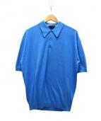 JOHN SMEDLEY(ジョン スメドレー)の古着「ニットポロシャツ」 ブルー