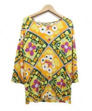 marimekko(マリメッコ)の古着「ウニッコ柄ジャージーカットソー」|オレンジ