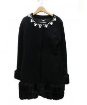 Rady(レディ)の古着「襟ビジューノーカラーコート」|ブラック