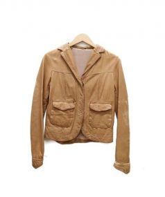 GIORGIO BRATO(ジョルジオ ブラット)の古着「ヴィンテージ加工ラムザージャケット」|ライトブラウン