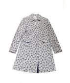 LANVIN en Bleu(ランバンオンブルー)の古着「マーガレット織りコート」 ブルー×ホワイト