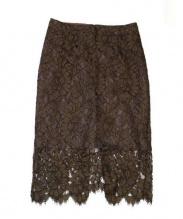 Whim Gazette(ウィムガゼット)の古着「NERO su neroレースタイトスカート」 ブラウン