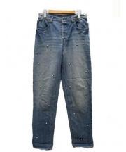 MUVEIL(ミュベール)の古着「ラインストーンデニムパンツ」 ブルー