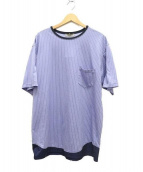Casely-Hayford(ケイスリーヘイフォード)の古着「コントラストヘムTシャツ」|ブルー