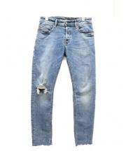 DIESEL(ディーゼル)の古着「クラッシュ加工スキニージーンズ」|ウォッシュドブルー