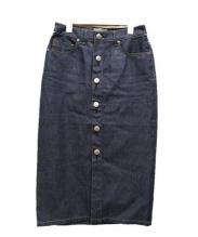 Moname(モナーム)の古着「フロントボタンデニムスカート」 インディゴ