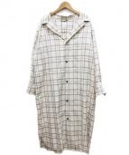 so1:1(ソウワンバイワン)の古着「チェック開襟ガウンワンピース」|ホワイト