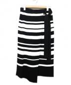 BALLSEY(ボールジー)の古着「レーヨンナイロンラップスカート」|ブラック×ホワイト
