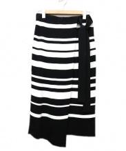 BALLSEY(ボールジー)の古着「レーヨンナイロンラップスカート」 ブラック×ホワイト