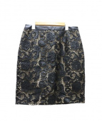 Diagram(ダイアグラム)の古着「Fレザーレースカットタイトスカート」|ブラック×ベージュ