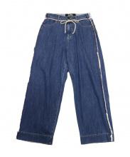 BASISBROEK(バージスブルック)の古着「サイドフリンジワイドデニム」 ウォッシュドブルー