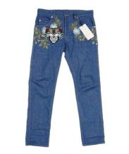 GUCCI(グッチ)の古着「アングリーキャット刺繍 テーパードデニムパンツ」|ブルー