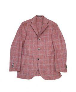 Lubiam(ルビアム)の古着「2Bチェックジャケット」 レッド