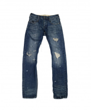 DENHAM(デンハム)の古着「ダメージ加工スリムフィットデニム」|ブルー