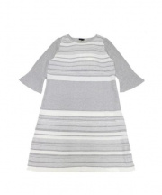 TO BE CHIC(トゥビーシック)の古着「セイシェルニットドレス」 グレー×ホワイト