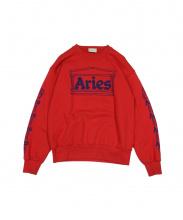 ARIES(アリーズ)の古着「袖ロゴプリントスウェット」 レッド