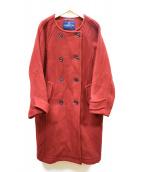 LONDON Tradition(ロンドントラディション)の古着「メルトンノーカラーコート」|レッド