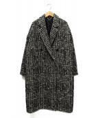 Jines(ジネス)の古着「カラーツイードグレンチェックコート」|ブラック