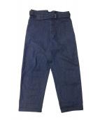 COMOLI(コモリ)の古着「ベルテッドデニムパンツ」 インディゴ