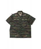 WTAPS(ダブルタップス)の古着「テープロゴタイガーカモシャツ」 カーキ