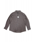 DURBAN(ダーバン)の古着「イタリアンカラーリネン無地ドレスシャツ」|グレー