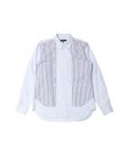 COMMEdesGARCONSHommePlus(コム デ ギャルソン オム プリュス)の古着「パッチワークストライプシャツ」|サックスブルー
